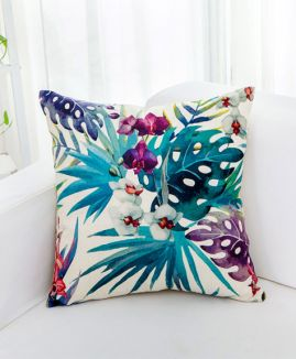 LS001 Tropical Flowers Pillow Cover ( Cotton Linen Mix )